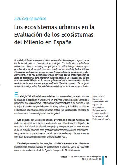 Los ecosistemas urbanos en la Evaluación de los Ecosistemas del Milenio en España