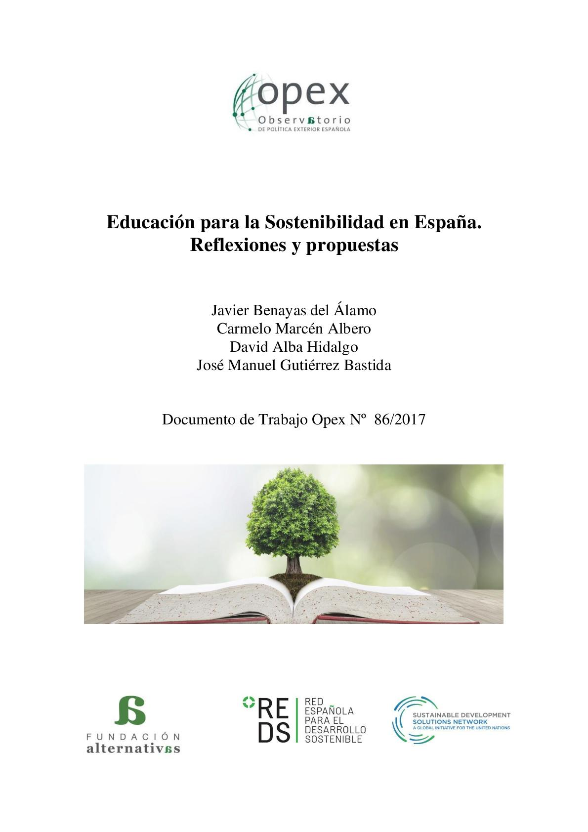 Educación para la Sostenibilidad en España. Reflexiones y propuestas.