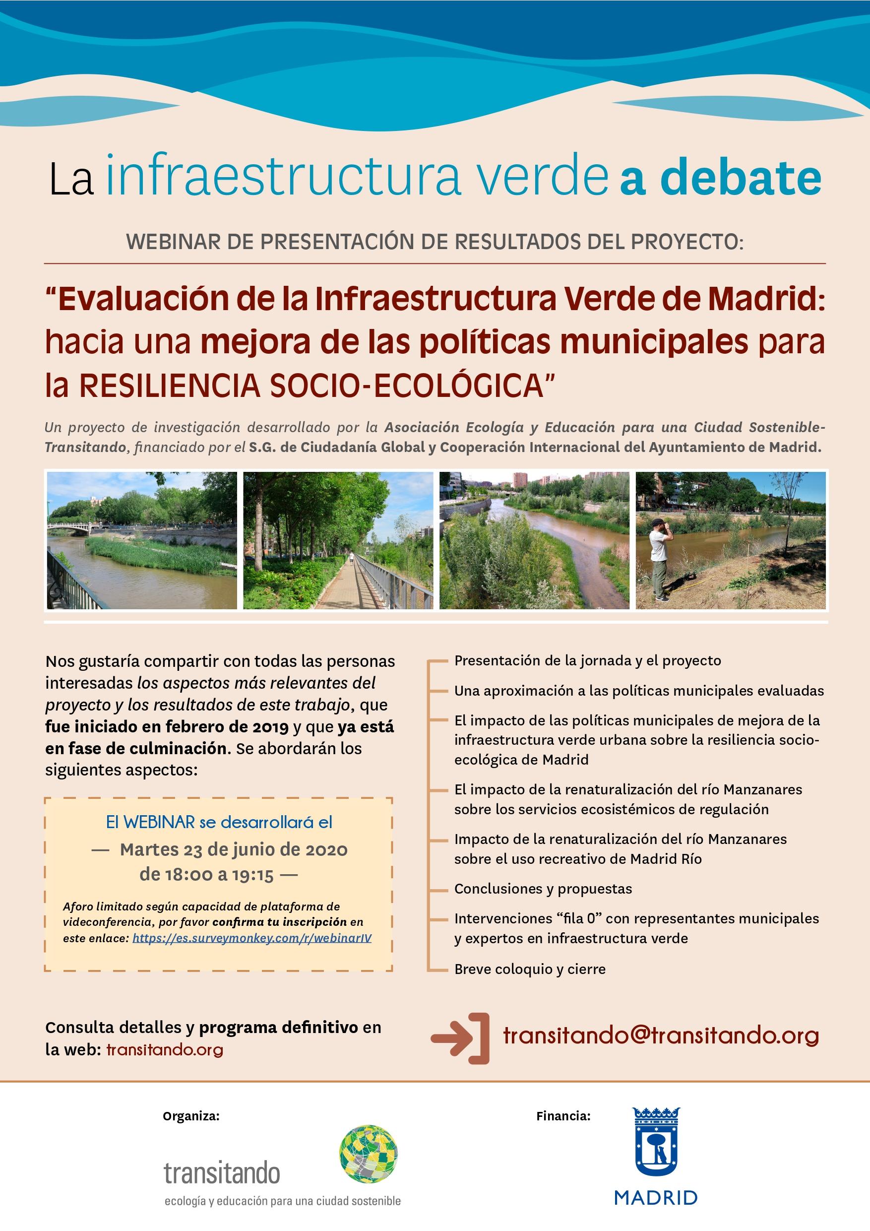 Evaluación de la infraestructura verde de Madrid: presentación de resultados finales